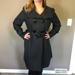 Long charcoal grey winter coat from Guess